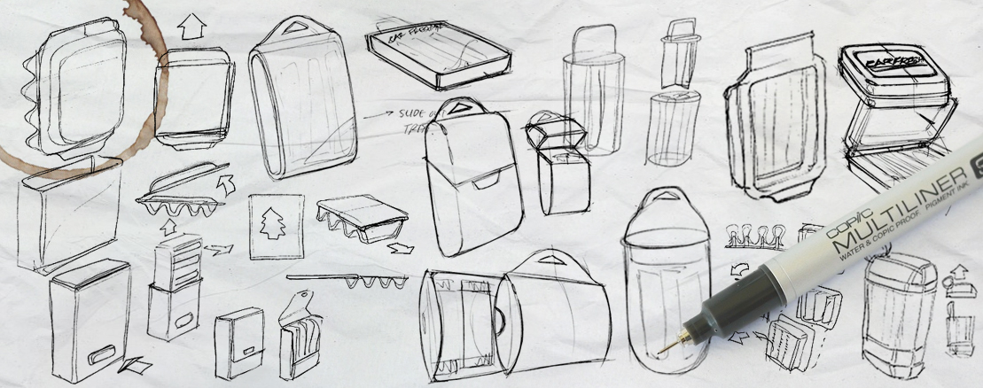 A collage of many rough pen-and-paper sketches of packaging concept explorations for PERK Air Fresheners.
