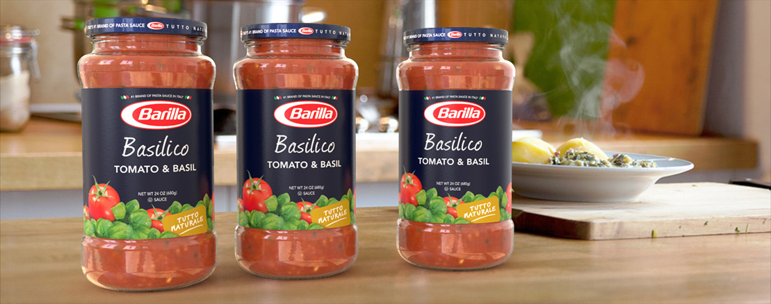 Barilla Tomato & Basil sauce jar packaging and product rendered concept.
