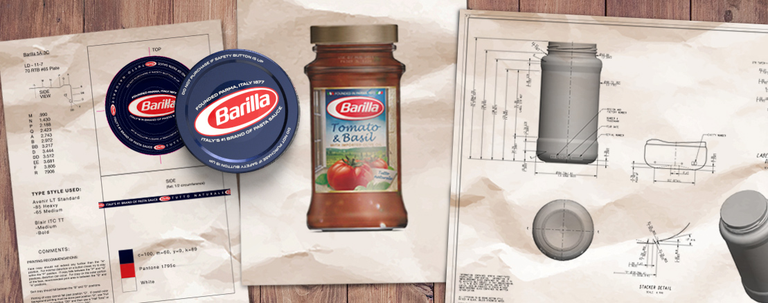 Barilla Tomato & Basil sauce jar packaging and product rendered concepts.