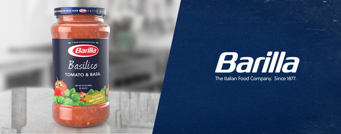 Final Barilla Tomato & Basil sauce jar product rendering.