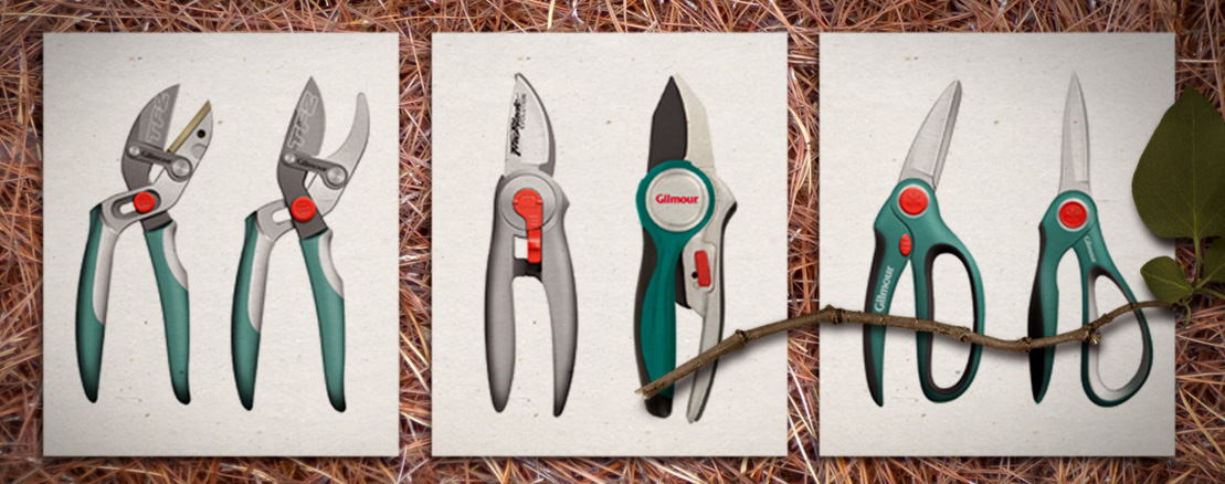 Design exploration of pruners and scissors for Gilmour.